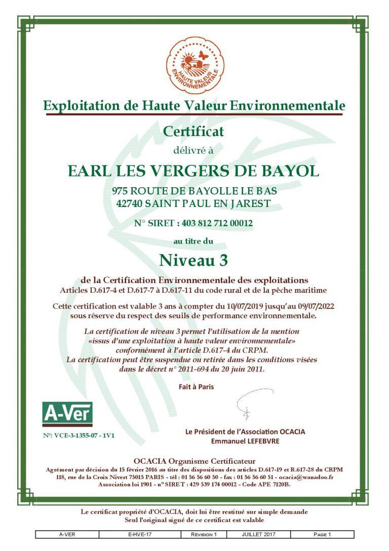 Certificat Haute Valeur Environnementale